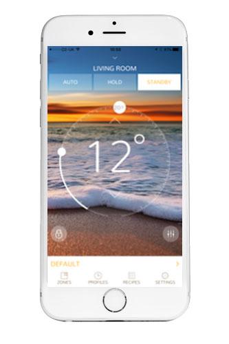 Termostat Heatmiser neoStat-e aplikace na smartphone