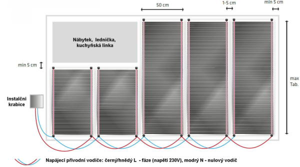 Schéma zapojení topné fólie