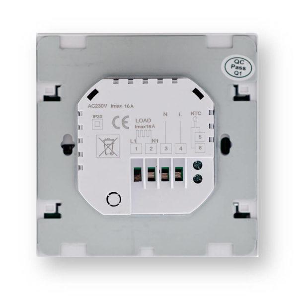 Termostat HD-T02 k topné fólii - pohled zezadu